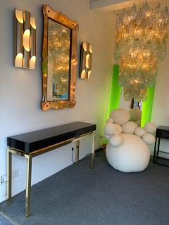 Guy LeFevre Lacquered and Brass Console by Guy Lefevre France 1970s - 1224654