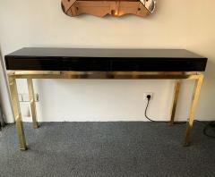 Guy LeFevre Lacquered and Brass Console by Guy Lefevre France 1970s - 1224657