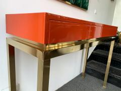Guy LeFevre Lacquered and Brass Console by Guy Lefevre France 1970s - 1649391