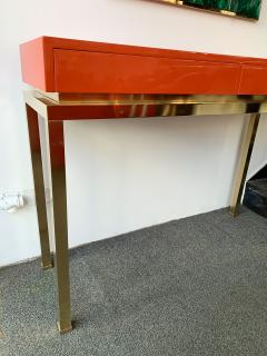 Guy LeFevre Lacquered and Brass Console by Guy Lefevre France 1970s - 1649393
