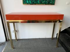 Guy LeFevre Lacquered and Brass Console by Guy Lefevre France 1970s - 1649394