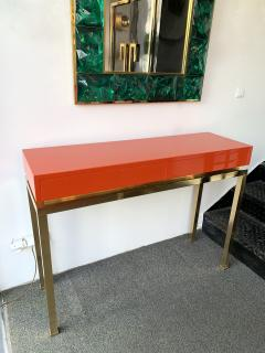 Guy LeFevre Lacquered and Brass Console by Guy Lefevre France 1970s - 1649395