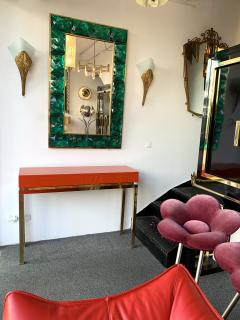Guy LeFevre Lacquered and Brass Console by Guy Lefevre France 1970s - 1649398