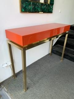 Guy LeFevre Lacquered and Brass Console by Guy Lefevre France 1970s - 1649399