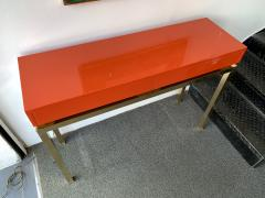 Guy LeFevre Lacquered and Brass Console by Guy Lefevre France 1970s - 1649401