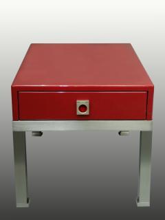 Guy LeFevre Pair of end tables in red laquer by Guy Lefevre for Maison Jansen France 1970s - 2051615