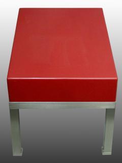 Guy LeFevre Pair of end tables in red laquer by Guy Lefevre for Maison Jansen France 1970s - 2051616