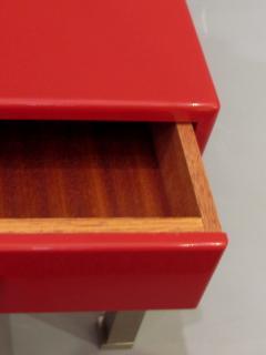Guy LeFevre Pair of end tables in red laquer by Guy Lefevre for Maison Jansen France 1970s - 2051625