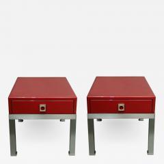 Guy LeFevre Pair of end tables in red laquer by Guy Lefevre for Maison Jansen France 1970s - 2052009
