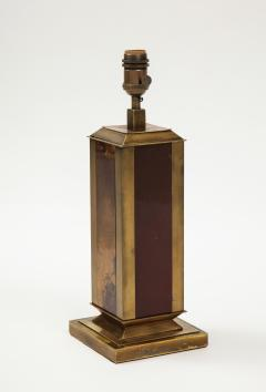 Guy LeFevre Rare Laque dAmbre and patinated brass table lamp by Guy Lefevre France 1970s - 1927882