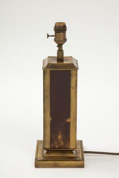 Guy LeFevre Rare Laque dAmbre and patinated brass table lamp by Guy Lefevre France 1970s - 1927888