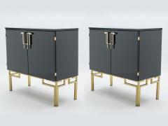 Guy LeFevre Rare pair of cabinets bar Guy Lefevre for Maison Jansen brass lacquered 1970s - 1336093
