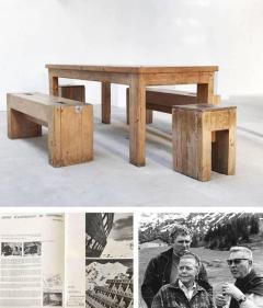 Guy Rey Millet Jean Prouv Jean Prouv with Guy Rey Millet Dining Room Table Wood Refuge de la Vanoise - 1001333