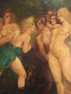 H Buckley INCREDIBLE ART DECO PAINTING OF VENUS AND DIANA - 732853