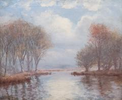 Hal Robinson River Landscape On A Cloudy Day an Oil Painting - 1145007