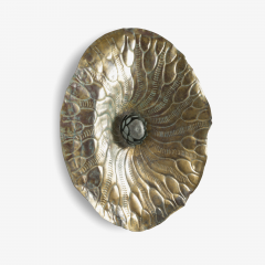 Hammered Brass Lotus from Tibet - 443676