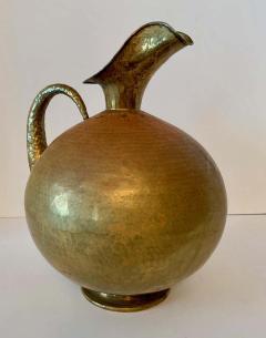 Hammered Italian Brass Urn Pitcher Signed Egidio Casagrande - 1725805