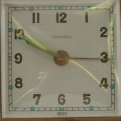 Hampden German Travel Alarm Clock Vintage Tan Leather Case 1950s Germany - 1689252