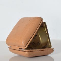 Hampden German Travel Alarm Clock Vintage Tan Leather Case 1950s Germany - 1689253