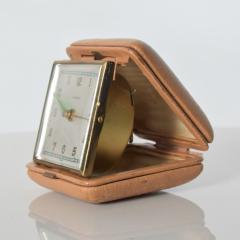 Hampden German Travel Alarm Clock Vintage Tan Leather Case 1950s Germany - 1689254