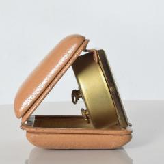 Hampden German Travel Alarm Clock Vintage Tan Leather Case 1950s Germany - 1689256