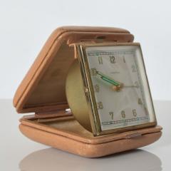 Hampden German Travel Alarm Clock Vintage Tan Leather Case 1950s Germany - 1689257