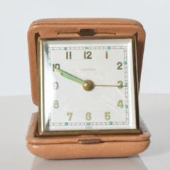 Hampden German Travel Alarm Clock Vintage Tan Leather Case 1950s Germany - 1689258