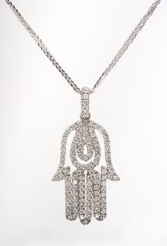 Hamsa Diamond White Gold Pendant Necklace - 579490
