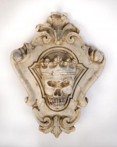 Hand Carved Solid Calacatta Marble Gothic Revival Skull Architectural Element - 1816851