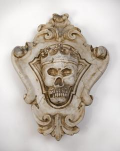 Hand Carved Solid Calacatta Marble Gothic Revival Skull Architectural Element - 1816852