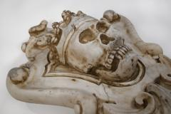 Hand Carved Solid Calacatta Marble Gothic Revival Skull Architectural Element - 1816853