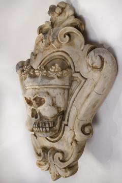 Hand Carved Solid Calacatta Marble Gothic Revival Skull Architectural Element - 1816854