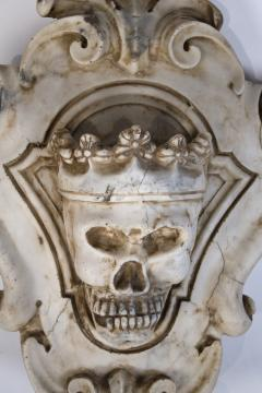 Hand Carved Solid Calacatta Marble Gothic Revival Skull Architectural Element - 1816855