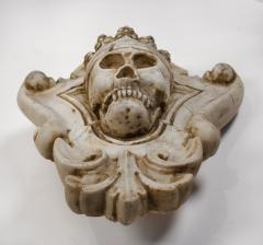 Hand Carved Solid Calacatta Marble Gothic Revival Skull Architectural Element - 1816856