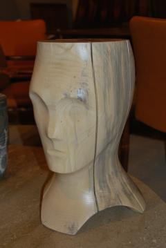 Hand Carved Spalted Head Side Table - 148178