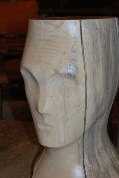 Hand Carved Spalted Head Side Table - 148181