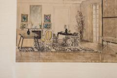 Hand Colored Interior Drawing - 1097045