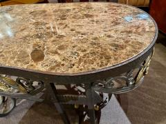 Hand Forged Iron Oval Custom Art Deco Coffee Table with Marble Top - 1334137