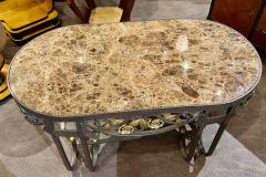 Hand Forged Iron Oval Custom Art Deco Coffee Table with Marble Top - 1334138