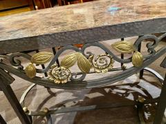 Hand Forged Iron Oval Custom Art Deco Coffee Table with Marble Top - 1334140
