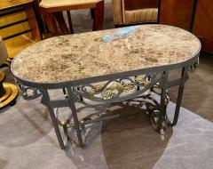 Hand Forged Iron Oval Custom Art Deco Coffee Table with Marble Top - 1334142