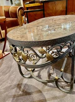 Hand Forged Iron Oval Custom Art Deco Coffee Table with Marble Top - 1334149
