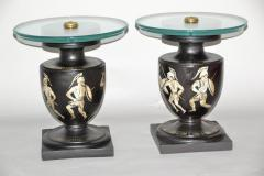 Hand Painted Italian Mid Century Black and White Urn End Tables circa 1940 - 570742