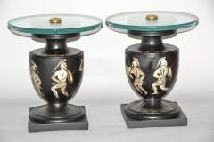 Hand Painted Italian Mid Century Black and White Urn End Tables circa 1940 - 570743