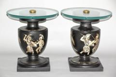 Hand Painted Italian Mid Century Black and White Urn End Tables circa 1940 - 570744