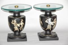 Hand Painted Italian Mid Century Black and White Urn End Tables circa 1940 - 570746