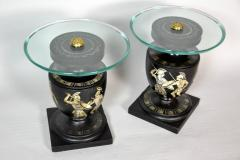 Hand Painted Italian Mid Century Black and White Urn End Tables circa 1940 - 570754