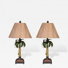 High Quality Hand Painted Palm Tree Lamps With Custom Bamboo Shades   387381