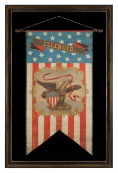 Hand Painted Patriotic Banner With The Seal of the State of Illinois - 577647