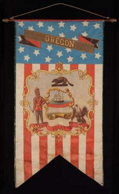 Hand Painted Patriotic Banner with the Seal of the State of Oregon - 639102